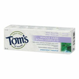 Tom's of Maine Natural Whole Care Fluoride Toothpaste - Peppermint - 85ml