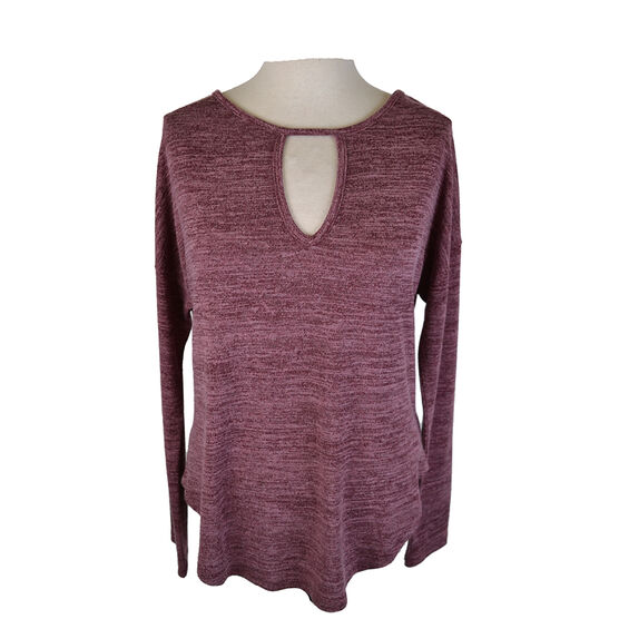 Lava Long Sleeve Top with Front Keyhole Design - Burgundy