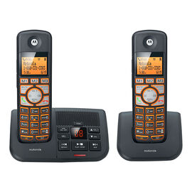 Motorola DECT 6.0 2-Handset Cordless Phone with Answering Machine - Black - K702B