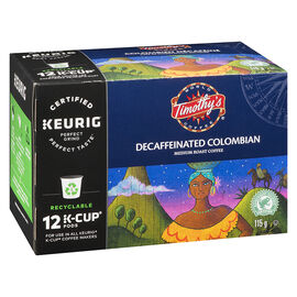 K-Cup Timothy's Coffee - Colombian Decaffeinated - 12 Servings
