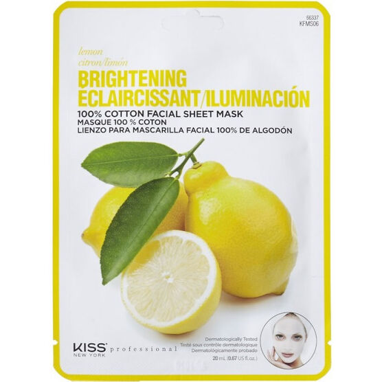 Kiss Pro Cotton Facial Sheet Mask - Brightening Lemon - KFMS06C