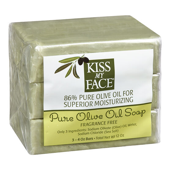 Kiss My Face Soap Olive Oil Soap - Fragrance Free - 3 x 115g