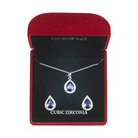 Danecraft Cubic Zirconia Earring & Necklace Box Set - Teardrop - Deep Blue