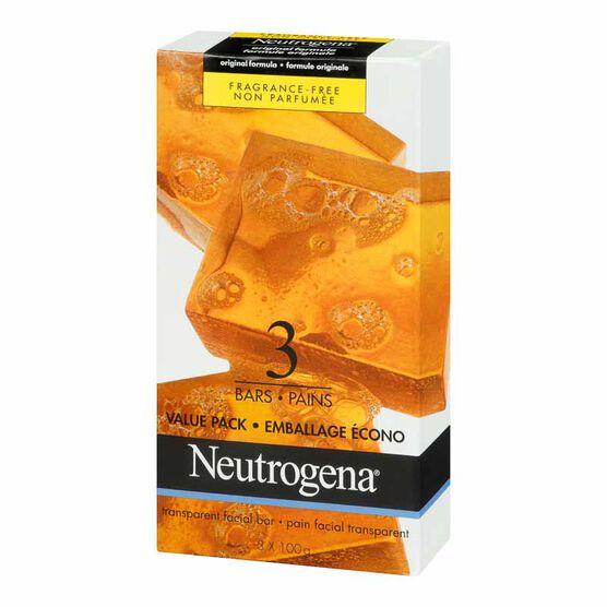 Neutrogena Facial Cleansing Soap - Original Fragrance Free - 3 x 100g