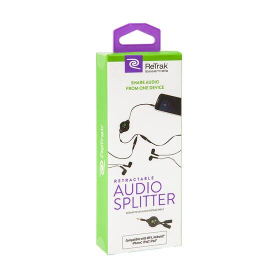 ReTrak Retractable Audio Splitter - Black - ETESSPL