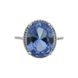 Puccini Cubic Zirconia Large Centre Oval Ring - Tanzanite - Size 7