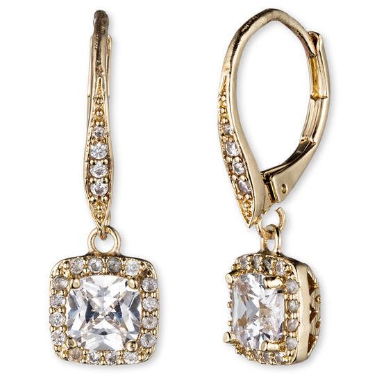 Anne Klein Stone Pendant Drop Earrings - Gold