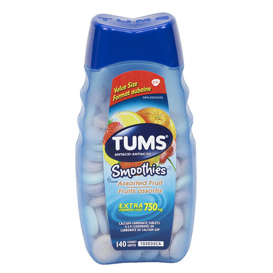 Tums Smoothies Extra Strength 750mg - Assorted Fruit  - 140's