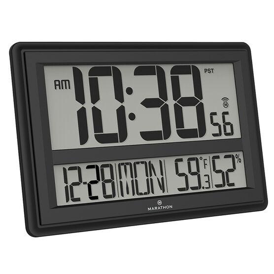 Marathon Jumbo Atomic Clock - Black - CL030056BK