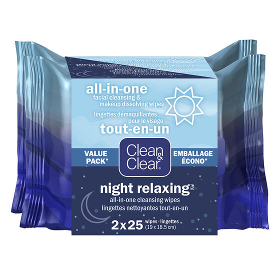 Clean&Clear All-in-One Cleansing Wipes Duo 2 x 25's