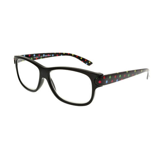 Foster Grant Lilly Reading Glasses with Case - Black - 2.00