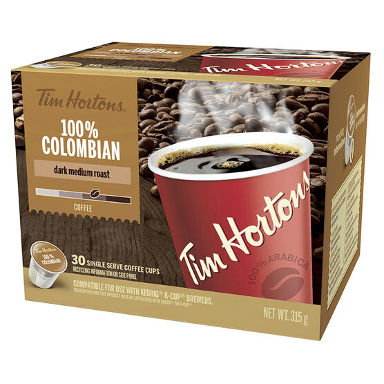 Tim Hortons 100% Colombian Coffee - 30 pack