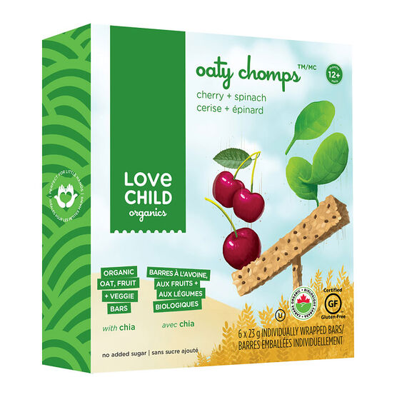 Love Child Oaty Chomps Bars - Cherry + Spinach - 6 x 23g