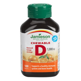 Jamieson Chewable Vitamin D 1,000 IU - Natural Tangy Orange - 100's