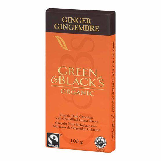 Green & Blacks Organic Chocolate Bar  - Dark Chocolate with Ginger  - 100g