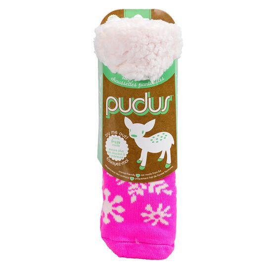 Pudus Brand Slipper Socks - Snowflake Pink