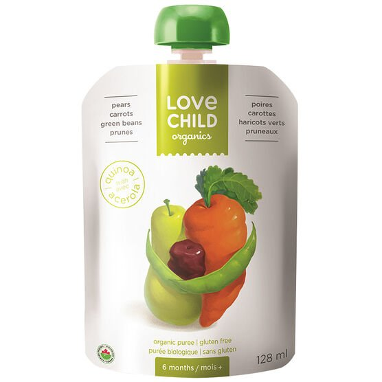 Love Child Pear, Carrot, Green Bean and Prune - 128ml