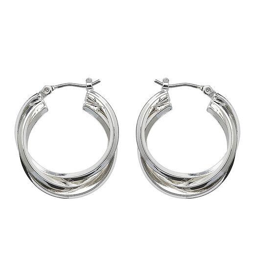 Anne Klein 3 Ring Hoop Earrings - Silver