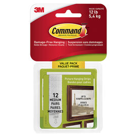 3M Command Picture Hanging Strips - White - Medium - 12's