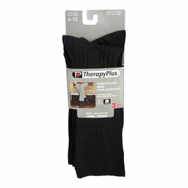 Therapy Plus Diabetic Care Ladies Dress Crew Sock - Black - 2 Pair