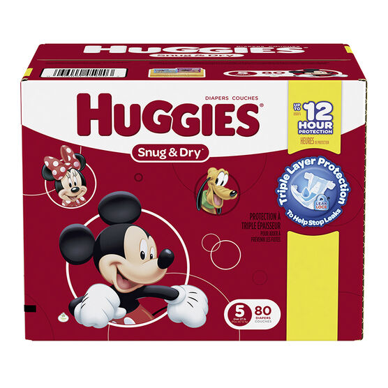 Huggies Snug & Dry Diapers - Size 5 - 80's