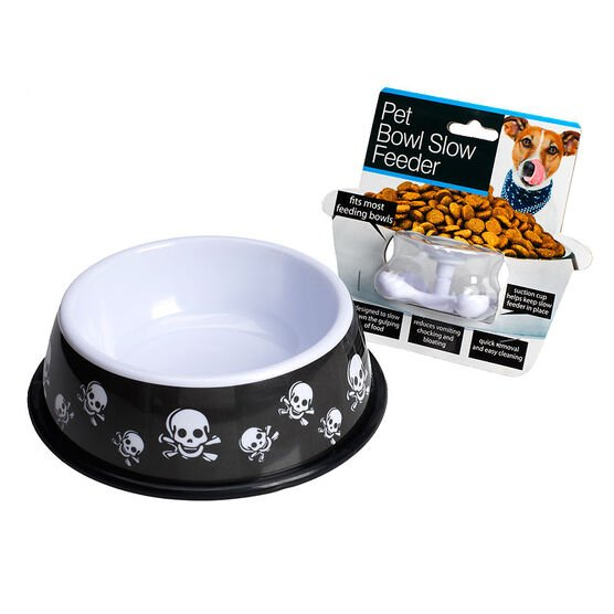 London Drugs Pet Bowl with Feeder Control - Skulls - 8inch