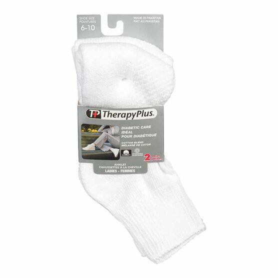TherapyPlus Women's Diabetic Anklet Socks - Shoe Size 6-10 -White - 2 pairs