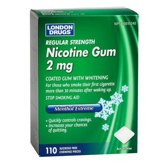 London Drugs Regular Strength Nicotine Gum 2mg - Menthol Extreme - 110's