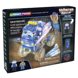 Laser Pegs Building Blocks Playset - Monster Rally Collection - Blue Destroyer