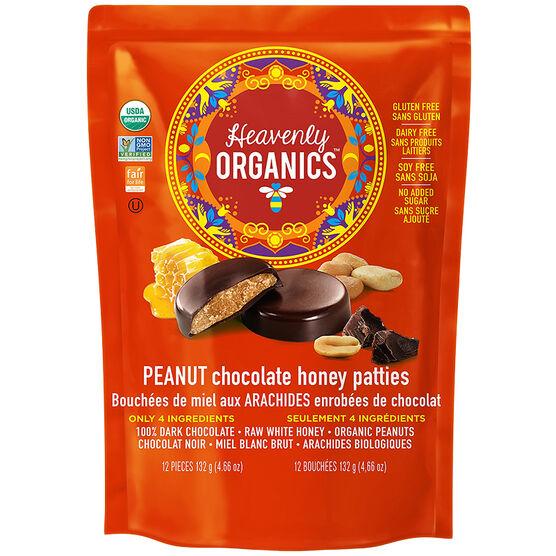 Heavenly Organics Chocolate Honey Patties - Peanut - 132g