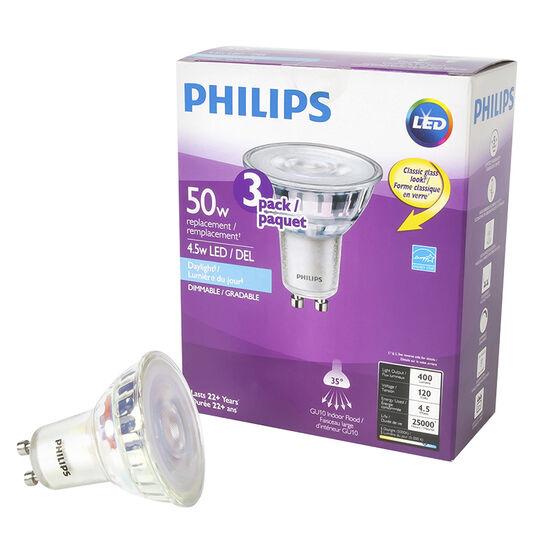 Philips LED GU10 Indoor Flood Lightbulb - Daylight - 4.5w/50w