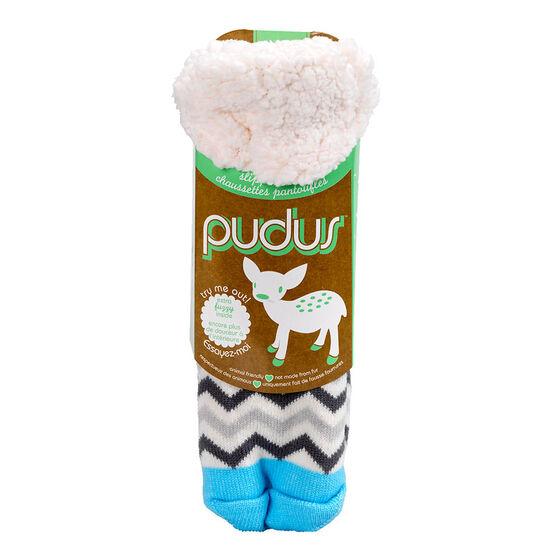 Pudus Brand Slipper Socks - Chevron White/Grey