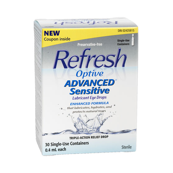 Refresh Optive Advanced Sensitive Lubricant Eye Drops - 30 x .4ml