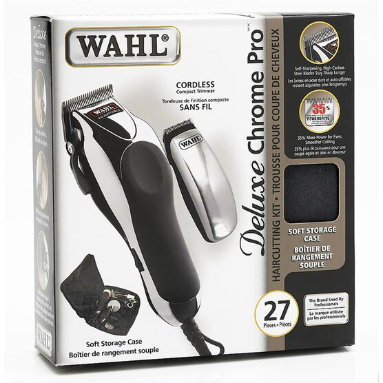 Wahl Deluxe Chrome Pro 27 Piece Haircutting Kit - 3141