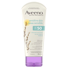 Aveeno Active Naturals Sensitive Skin Mineral Sunscreen Lotion - SPF 50 - 88ml