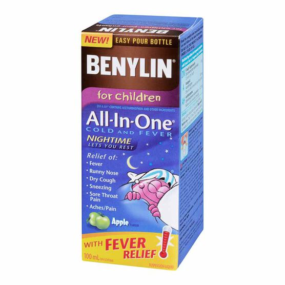 Benylin Children's Nighttime All-in-One Cold & Fever Syrup - Apple - 100ml