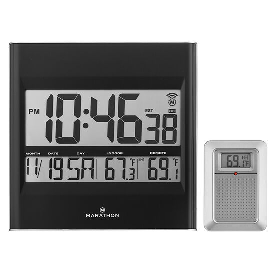 Marathon Atomic Wall Clock - Black - CL030027BK