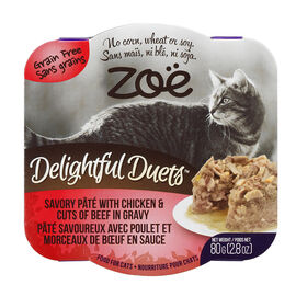 Zoe Delightful Duets Cat Food - Pate with Chicken & Beef - 80g
