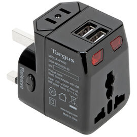 Targus World Travel Power Adapter with Dual USB Charging Ports - Black - APK032US