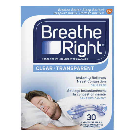Breathe Right Nasal Strips - Clear - Large - 30's