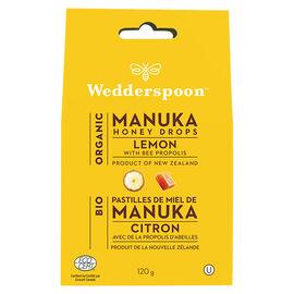 Wedderspoon Organic Honey Drops - Lemon & Bee Propolis - 120g