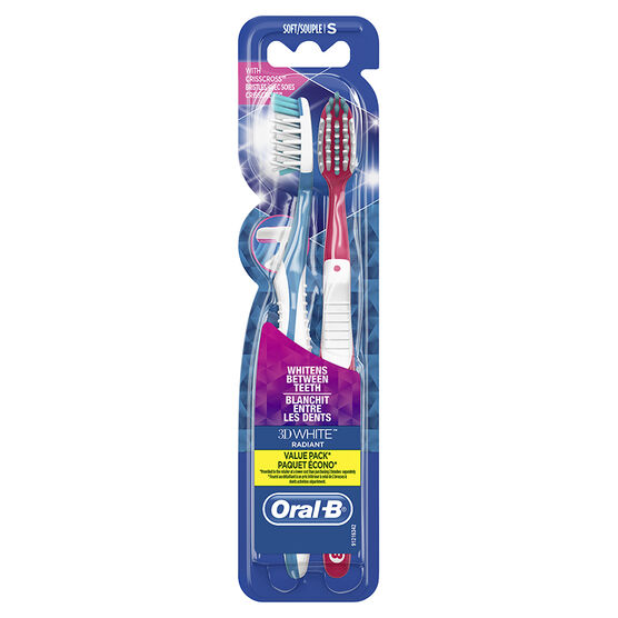 Oral-B 3D White Radiant Value Pack Toothbrush - Soft - 2's