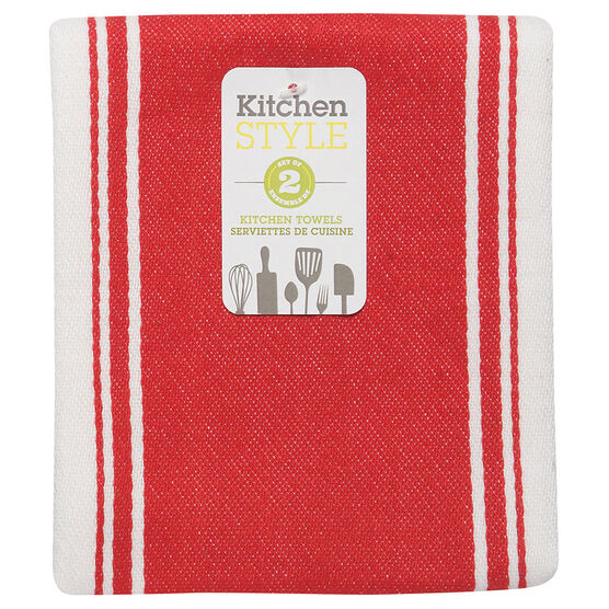 Kitchen Style Stripe Teatowel - Red - 2 pack