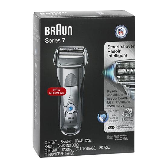 Braun Series 7 Wet & Dry Smart Shaver - Silver/Black - 7893s