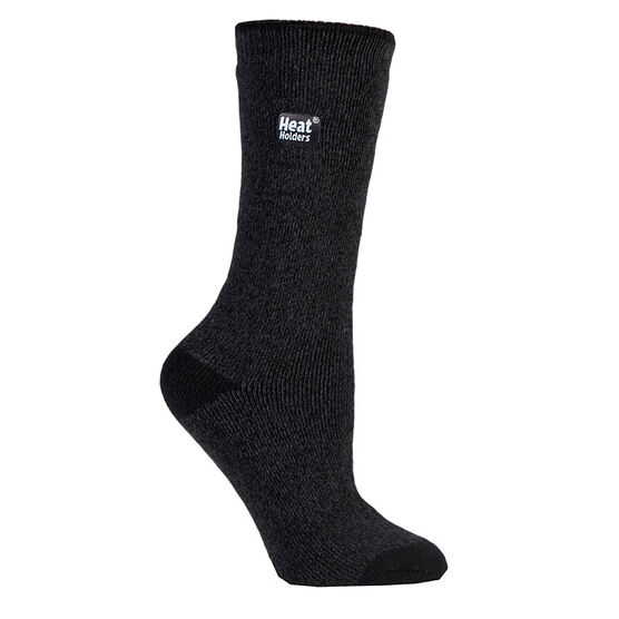 Heat Holders Ladies Lite Twist Crew Sock - Black/Grey