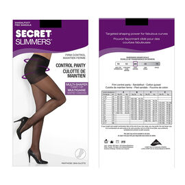 Secret Silky Slimmers Control Top Pantyhose - D - Black