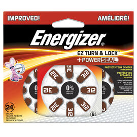 Energizer EZ Turn and Lock Size 312 Hearing Aid Batteries - 24 Pack - AZ312DP24