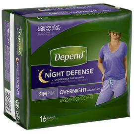 Depend Night Defense Underwear for Women - Small/Medium - 16's