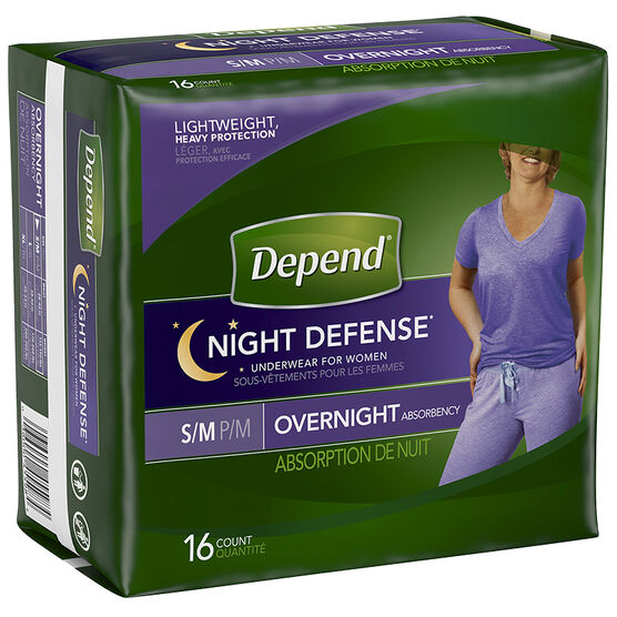 Depend Night Defense Underwear for Women - Small/Medium - 16's