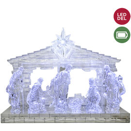 Danson Battery Operated LED Clear Acrylic Nativity - 8.5in - 7 pieces
